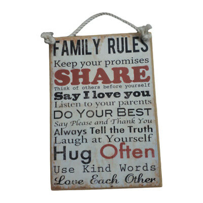 Country Printed Quality Wooden Sign *Family Rules 1*  funny inspiring plaque new