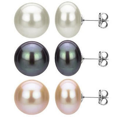 925 Sterling Silver Genuine Freshwater Cultured Pearl Earrings Studs-12.5 -13mm