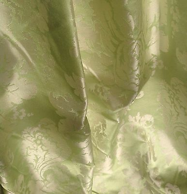 """100% Silk Damask Fabric. 54"""" Lime Green. By The Yard.   D9"""
