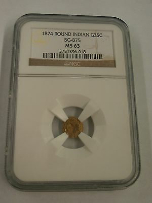 1874 California Fractional Gold BG-875 NGC MS 63 Round Indian G25C
