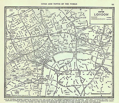 1941 Vintage Map London England British Commonwealth Westminster Abbey Tower