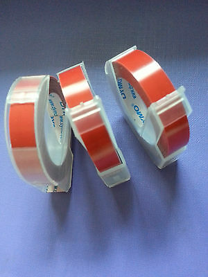 3 rolls x Dymo 3D embossing tape labels 9mm x 3m in RED  *Great Sales FreeShip