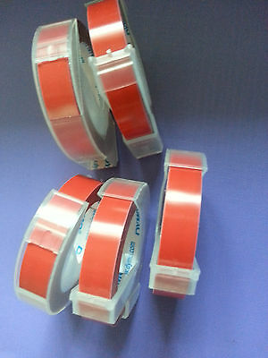 5 rolls x Dymo 3D embossing tape labels 9mm x 3m in RED  *Great Sales FreeShip