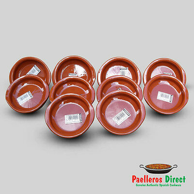 Set of 10 x 10cm Spanish Terracotta Tapas Dishes / Cazuelas