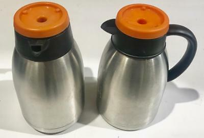 Servers  thermal carafes ss 1.9 Liter  Vacuum Insulated used set of 2 orange lid