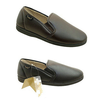 Dr Keller Christoff Mens Faux Leather Twin Gusset Slippers with Warm Lining New