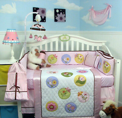 SoHo Once Upon a Garden (pink) Baby Crib Bedding 13 pcs Set included Diaper Bag