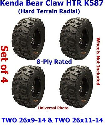 26x9-14 & 26x11-14 Kenda Bear Claw HTR K587 ATV Tires, 8-Ply, Set of 4