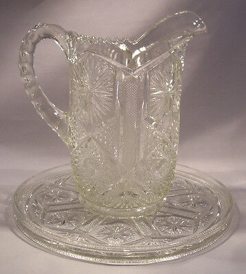 """2 pieces of """"Star & File""""pattern 1904 EAPG pitcher & plate by Imperial glass"""
