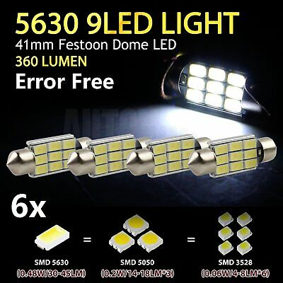 2 x 41mm White 5630 Interior Map Dome Festoon 9LED Canbus Error Free Light 360LM