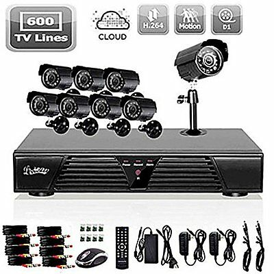 8CH Channel 600TVL Home Video Surveillance DVR Security System 8 Outdoor Camera