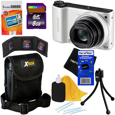 Samsung WB200F 14.2MP Smart Wi-Fi Digital Camera (White) + 7pc 8GB Accessory Kit