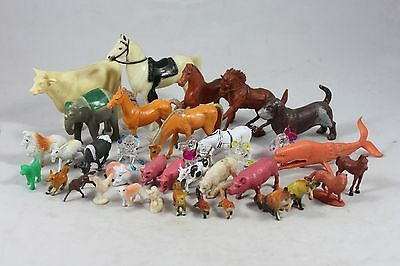 "36 Vintage Plastic Farm Animals Horse Cat Pig Cow Misc. 1/2-4"" tall    JD"