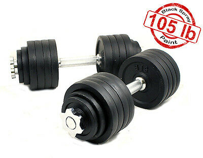 A Set New 2 x 52.5 LBS Adjustable Cast Iron Dumbbells Total 105 lbs Dumbbell