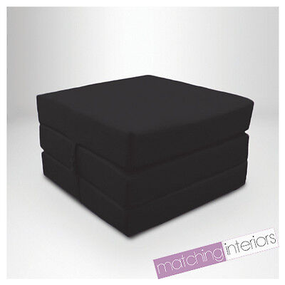 Black 100% Cotton Fold Out Single Z Bed Cube Guest Futon Chair Bed Budget Studio