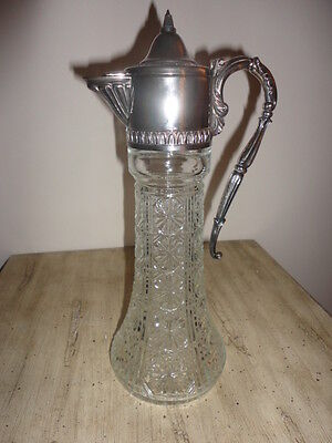 nice vintage victorian crystal pitcher silver plated mount top 12 inch