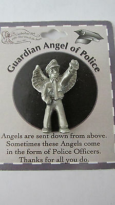 Guardian Angel of Police Lapel Pin Pewter Toned