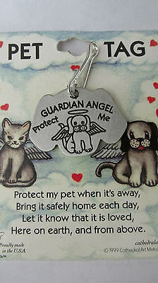 Dog Guardian Angel Pet Tag Pewter Toned Attaches To Collar Engravable