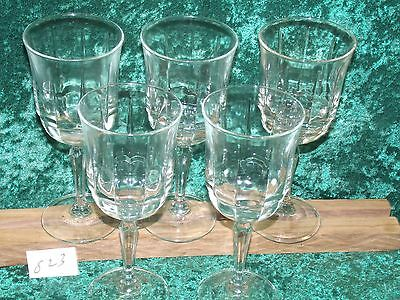 5 ARCOROC CRISTAL D'ARQUES CRYSTAL BENGALE ARCADE GASS WATER GOBLETS