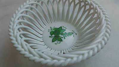 HEREND GREEN CHINESE BOQUET BASKET CANDY DISH