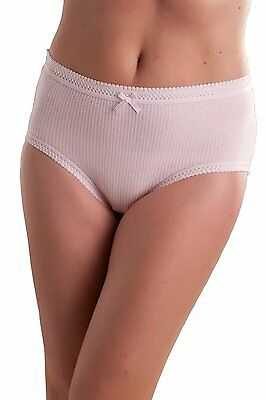 Value Pack of 3 Ladies Passionelle Womens Ribbed Pastel Cotton Briefs in 7 sizes