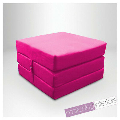 Pink Splashproof Wipe Clean Fold Out Cube Mattress Guest Z Bed Chair Bed Futon