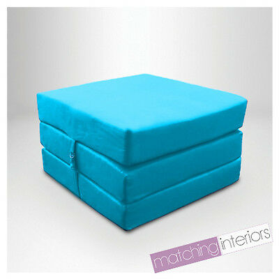 Aqua Splashproof Wipe Clean Fold Out Cube Mattress Guest Z Bed Chair Bed Futon