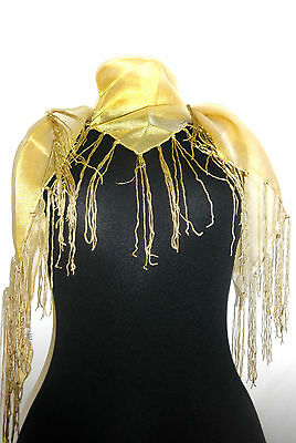 Bold Ladies Golden Scarf With Tassels Shiny Glamorous Look Perfect Gift! (Uw7)