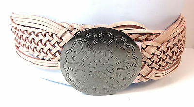 Ladies Pink Metal  Chunky Round Buckle Belt Brand New Unique Pu Leather (Bl4)