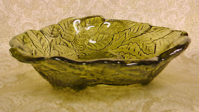 VINTAGE AMBER GREEN GLASS RAISED BERRY/LEAVES BOWL DISH
