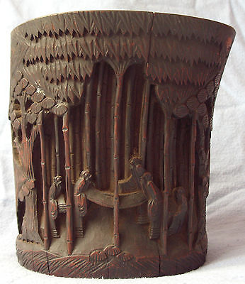 ANTIQUE CHINESE CARVED BAMBOO BITONG BRUSH POT QING 7 SAGES 雕竹罐 18/19TH CENTURY