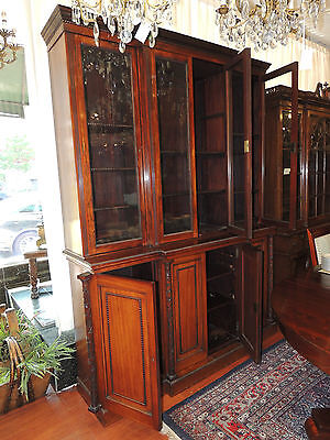 Extraordinary Oversize 19th Century Rosewood Tall Breakfront Bookcase Cabinet