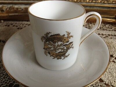 FINE TUSCAN ENGLISH BONE CHINA Demitas CUP AND SAUCER.~PISCES~Feb 19 ~ March 20