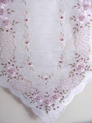Elegant White & Pink Sequin & Hand Beaded  Embroidered Table Runner - 90cm