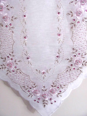 Elegant White & Pink Sequin & Hand Beaded  Embroidered Table Runner - 135cm