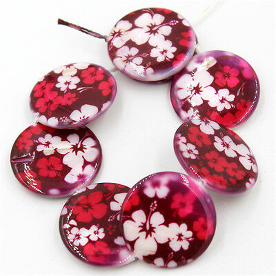 1string Hot Boutique Red Flower Charms Shell Spacer Beads Makings Crafts C