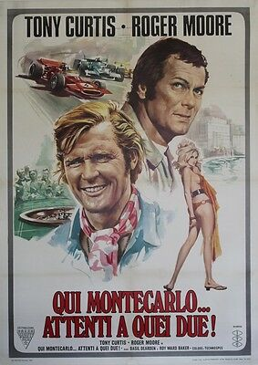 """MISSION : MONTE CARLO (THE PERSUADERS)""Affiche entoilée Tony CURTIS,Roger MOORE"