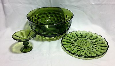 VTG Indiana Whitehall Colony Cubist Green Punch Bowl Serving Compote Plate