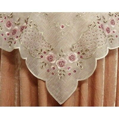 Elegant Cream & Pink Sequin & Hand Beaded  Embroidered Table Runner - 130cm
