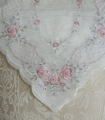 Elegant Cream & Pink Sequin & Hand Beaded  Embroidered Table Runner - 90cm