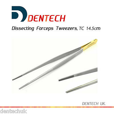 TC DISSECTING FORCEPS TWEEZERS SERRATED JAWS 14.5cm DENTAL SURGICAL TUNGSTEN