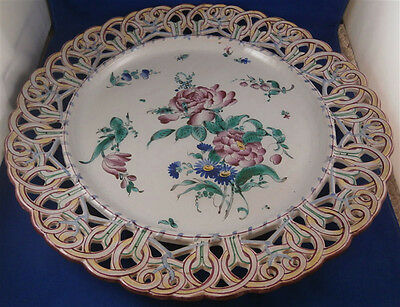 Rare 19thC St. Clement Faience Floral Reticulated Charger Plate Fayenze Teller
