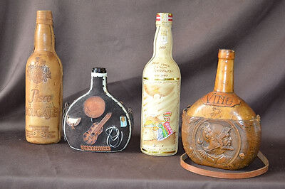 Vintage Leather Liquor Bottles from Peru & Argentina Lot of 4 NO ALCOHOL(empty)