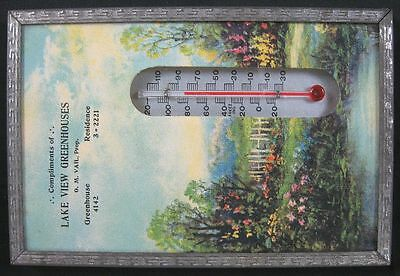 Vintage 1930's Advertising Thermometer Lake View Greenhouses OH