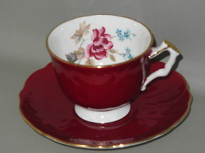 AYNSLEY - Ruby Red With Pink & Blue Flowers - CUP & SAUCER SET - CH
