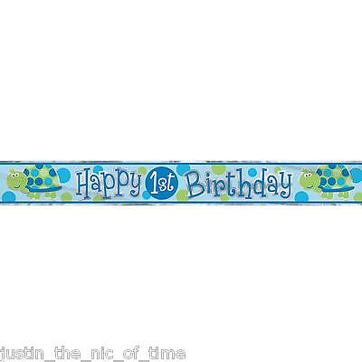 1ST BIRTHDAY TURTLE Blue Boy Party Banners Decorations 12ft FOIL BANNER