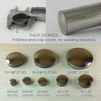 4 pc stainless steel round tube end cap push cover handrail tubing pipe 8 sizes