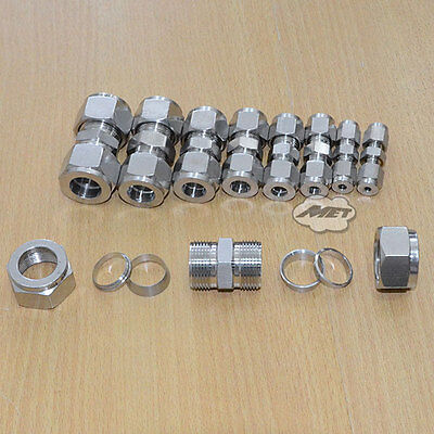 12mm Equal Straight Compression Coupler Pipe Fitting Double Ferrule NEW