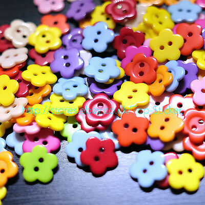 100 PCS 15mm RESIN SHINY FLOWER BUTTONS MIXED COLOURS CRAFT SCRAPBOOK 2 HOLES GB