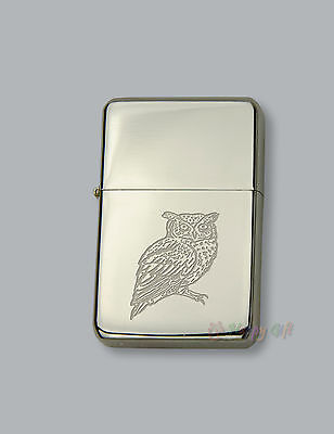 ENGRAVED lighter OWL design - boxed  - Petrol Personalised